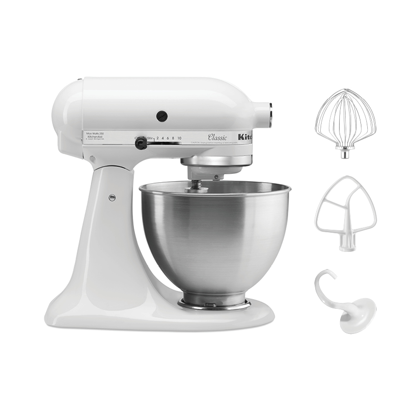 Kitchenaid 4 5qt 4 3l Classic Mixer 220v With Coated Flat Beater Coated C Dough Hook Wire Whisk And 4 5qt Stainless Steel Work Bowl Made In Usa Kitchenaid Philippines